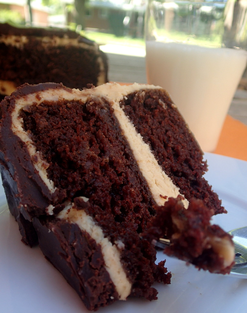 High Altitude Chocolate Cake w/ Peanut Butter Cream Cheese Icing